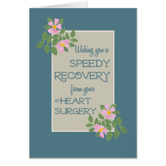 Get Well, Heart Surgery Card, Pink Dogroses, Blue Cards