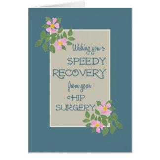 Get Well, Hip Surgery Card, Pink Dogroses, Blue Cards