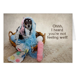 GET WELL - HUMOR - DOG TANGLED IN YARN CARD