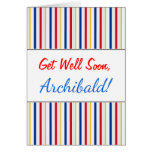 [ Thumbnail: Get Well + Ice Hockey Arena Rink-Inspired Stripes ]