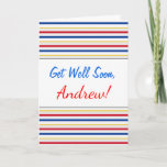 [ Thumbnail: Get Well + Ice Hockey Arena Rink-Inspired Stripes Card ]