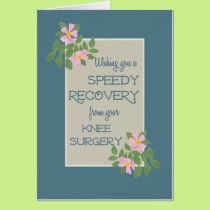 Get Well, Knee Surgery Card, Pink Dogroses, Blue Card