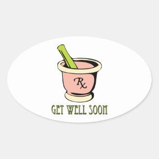 Get Well Oval Sticker