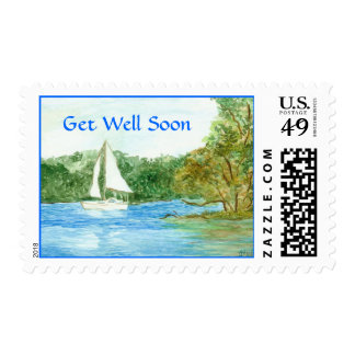 Get Well Sailboat Postage Stamp