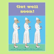 Get well soon - and have a little laugh! postcard