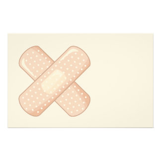 Get Well Soon Bandaid (Nurse Care Crossed Plaster) Stationery
