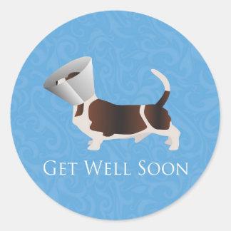Get Well Soon - Basset Hound Male Classic Round Sticker