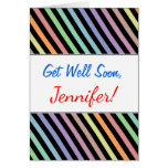 [ Thumbnail: Get Well Soon + Black & Pastel Color Lines Pattern ]