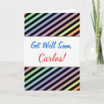 [ Thumbnail: Get Well Soon + Black & Pastel Color Lines Pattern Card ]