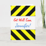 [ Thumbnail: Get Well Soon; Black & Yellow Chevron-Like Pattern Card ]