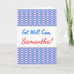 [ Thumbnail: Get Well Soon; Blue and Pink Diamond Shape Pattern Card ]