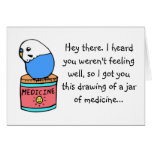 Get Well Soon- Budgie Greeting Card