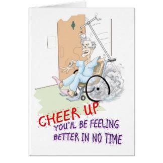 Get Well soon card. Funny Grandpa in wheelchair Card