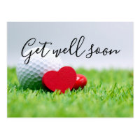 Get Well Soon card to golfer with golf ball & love