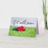 Get Well Soon card to golfer with golf ball & tee
