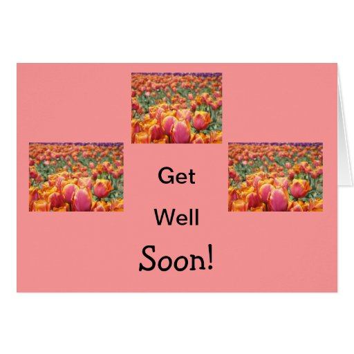 Get Well Soon! Cards Pink Tulip Flowers Health