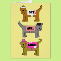 Get well soon cartoon dogs in hats and coats. card