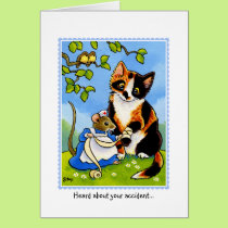 Get Well Soon CAT MOUSE Greetings CARD