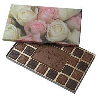 Get Well Soon Chocolates Pink White Roses Box