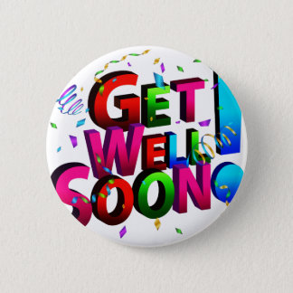 Get Well Soon Confetti Text Pinback Button