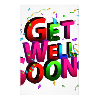 Get Well Soon Confetti Text Stationery