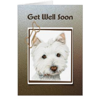 Get well soon, cute westie dog greeting card