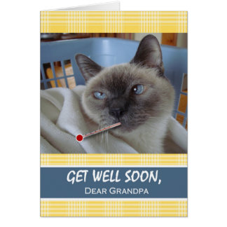 Get Well Soon for Grandpa, Sick Cat in Basket Card