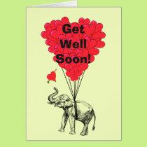 Get well soon fun elephant design card