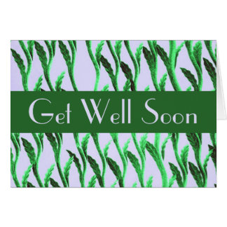 Get Well Soon green branches pattern Card