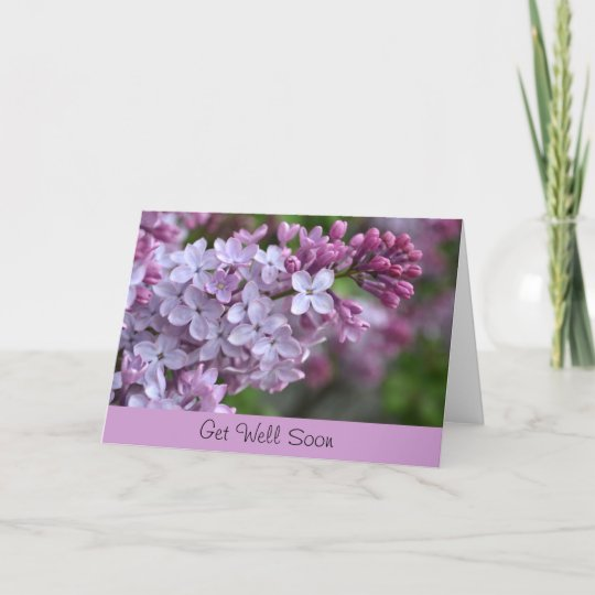 Get well soon greeting card with lilac design zazzle get well soon greeting card with lilac design m4hsunfo