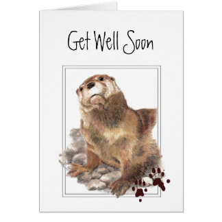 Get Well Soon, I Care, Cute Otter & Scripture Card