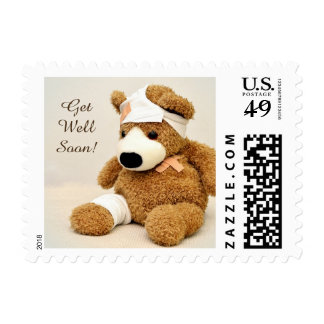 Get Well Soon Injured Teddy Bear Stamp