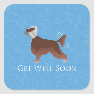 Get Well Soon - Irish Setter Male Square Stickers