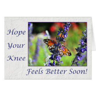 Get Well Soon Knee Butterfly Floral Greeting Card