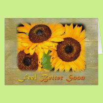 Get Well Soon Knee Surgery Sunflowers Card