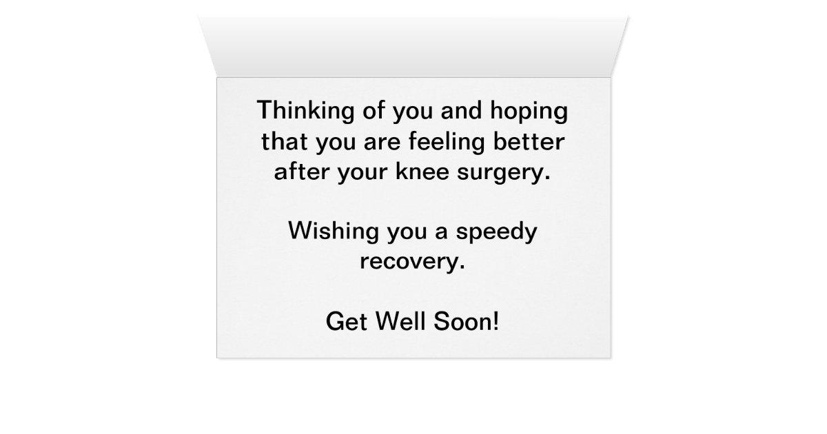 Get Well Soon Knee Surgery Teddy Bear Card Zazzle Com