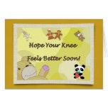 Get Well Soon Knee Surgery Teddy Bear Greeting Card