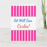"""[ Thumbnail: """"Get Well Soon"""" + Light Pink & Deep Pink Stripes Card ]"""