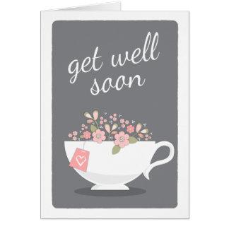 Get Well Soon Lovely Floral Teacup Card