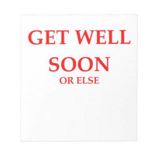 get well soon memo pads