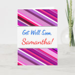 "[ Thumbnail: ""Get Well Soon"" + Pink, Purple Stripes Pattern Card ]"