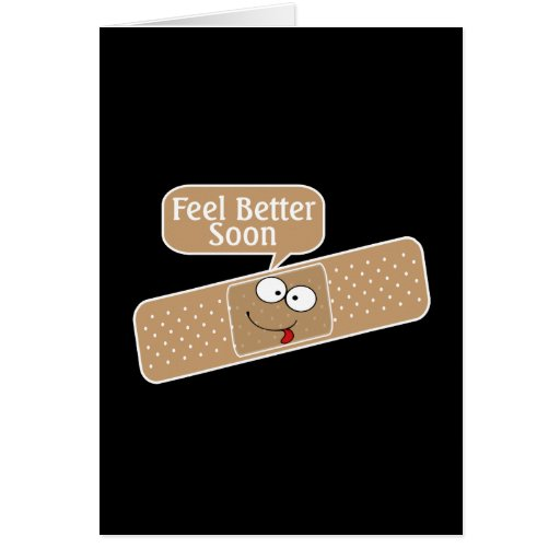 Get Well Soon Plaster And Funny Face Greeting Card