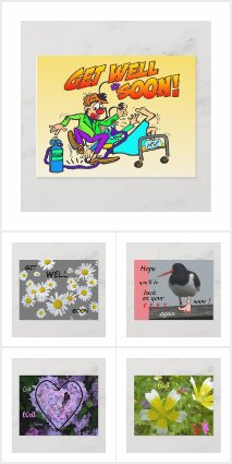 GET WELL SOON Post-& Greeting Cards Collection