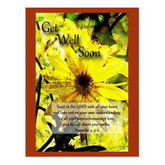 Get Well Soon Proverbs 3:5-6 Postcards