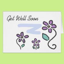 Get Well Soon - Purple Flowers Card