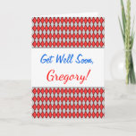 [ Thumbnail: Get Well Soon + Red and Gray Diamond Shape Pattern Card ]