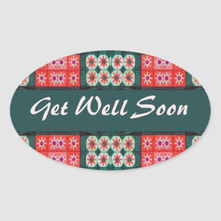 Get Well Soon Red Teal Pattern Oval Stickers