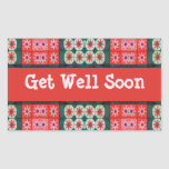 Get Well Soon Red Teal Pattern Rectangle Sticker