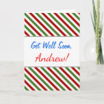 [ Thumbnail: Get Well Soon + Red, White & Green Striped Pattern Card ]