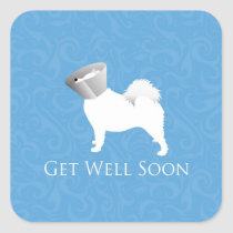 Get Well Soon - Samoyed Male Square Sticker